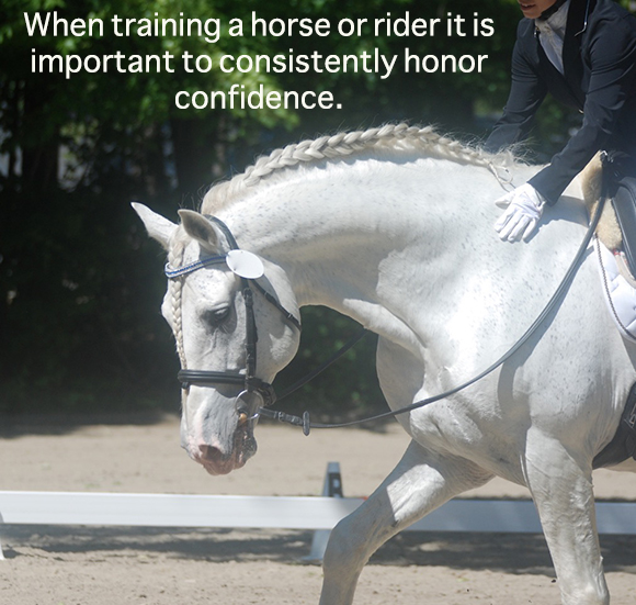 When training a horse or rider it is important to consistently honor confidence.
